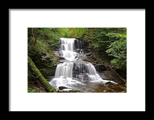 Waterfall Framed Print featuring the photograph Tuscarora Falls by Frozen in Time Fine Art Photography
