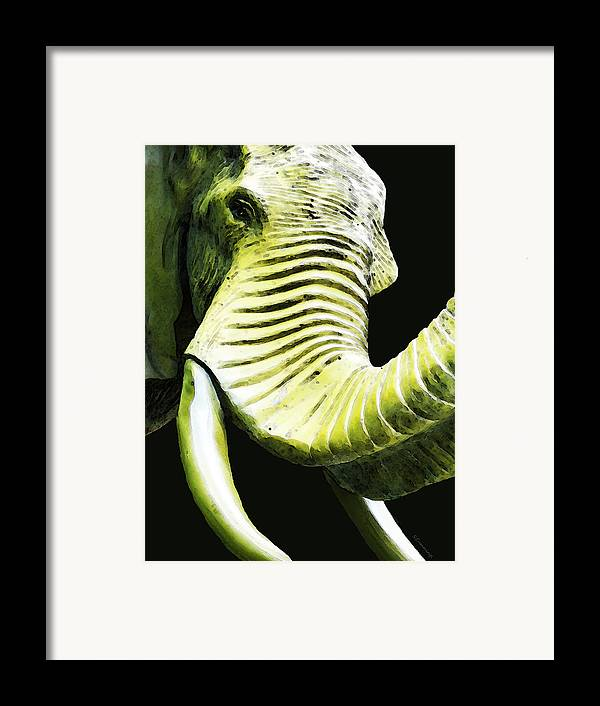 Elephant Framed Print featuring the painting Tusk 1 - Dramatic Elephant Head Shot Art by Sharon Cummings