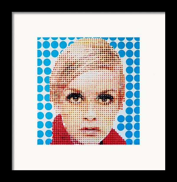 Twiggy Framed Print featuring the painting Twiggy Blue Dot by Grant Swinney