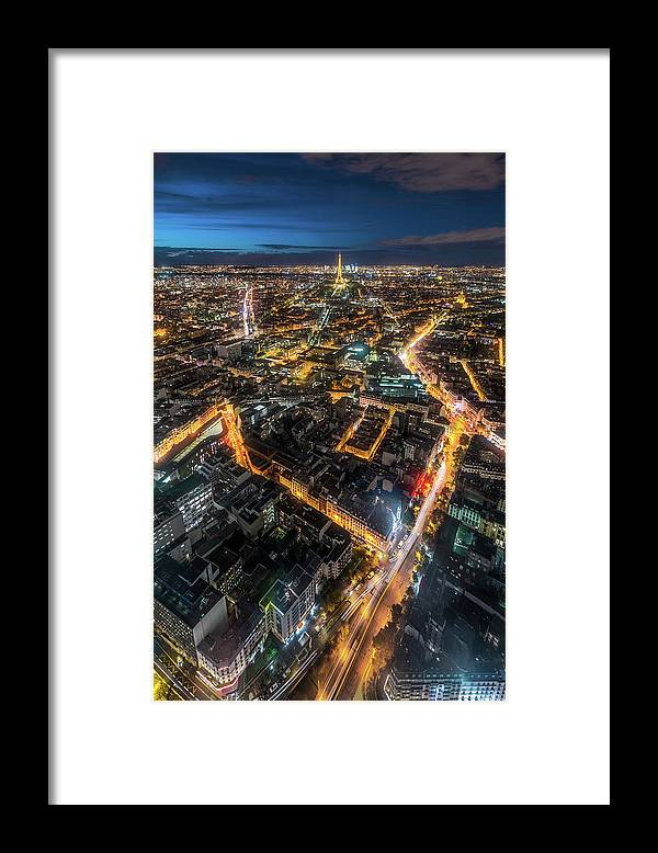 Tranquility Framed Print featuring the photograph Twilight City View Of Paris by Coolbiere Photograph