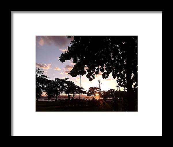Landscape Framed Print featuring the photograph Twilight In Santos Beach Park by Vera Radoja de Vasconcelos