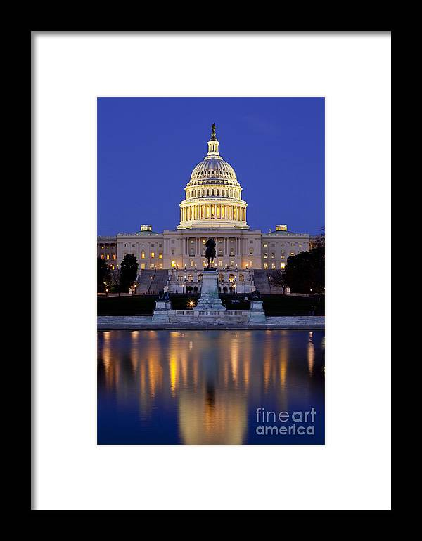 Capital Framed Print featuring the photograph Twilight Over Us Capitol by Brian Jannsen