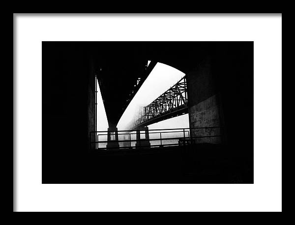 Black/white Photograph Framed Print featuring the photograph Twin Bridges by Leon Hollins III