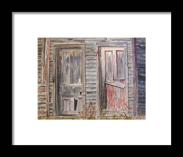 Doors Framed Print featuring the painting Twin Doors by Jackie Mueller-Jones
