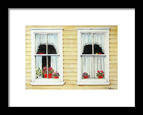 Windows Framed Print featuring the painting Twin Peeks by Mary Ellen Mueller Legault