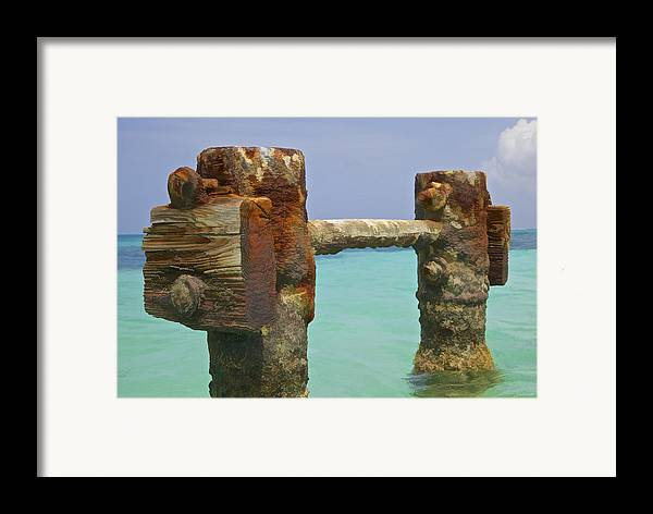 Aruba Framed Print featuring the painting Twin Rusted Dock Piers Of The Caribbean by David Letts