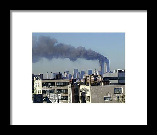 9/11/01 Framed Print featuring the digital art Twin Towers Burning by Steven Spak