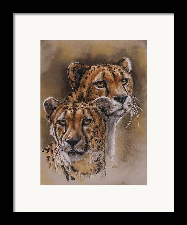 Cheetah Framed Print featuring the pastel Twins by Barbara Keith