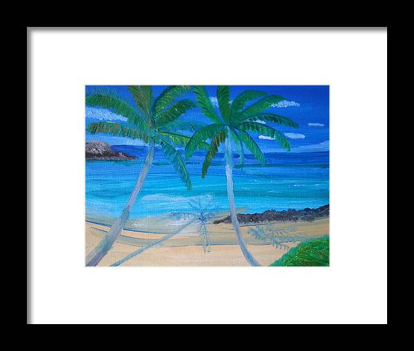 The Ocean Waves Framed Print featuring the painting Twins by Nelida Alicea