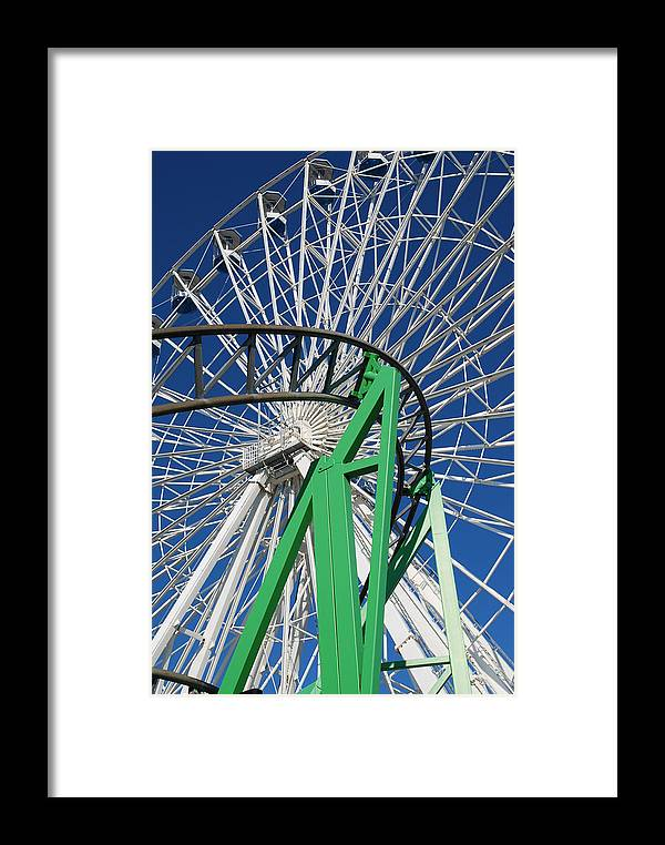 Ferris Wheel Framed Print featuring the photograph Twisted Metal by Mary Beth Landis