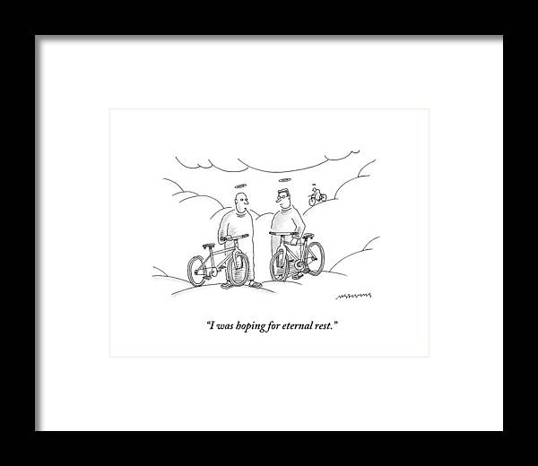 Angels Framed Print featuring the drawing Two Angels With Bicycles Converse. Another Angel by Mick Stevens
