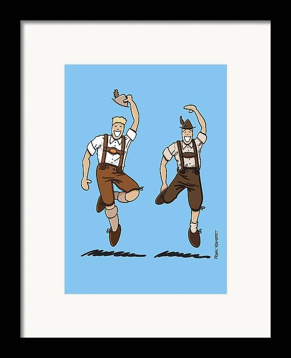 Frank Ramspott Framed Print featuring the drawing Two Bavarian Lederhosen Men by Frank Ramspott