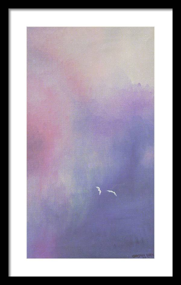 Sky Framed Print featuring the painting Two Birds Flying In Ravine. by Ingela Christina Rahm