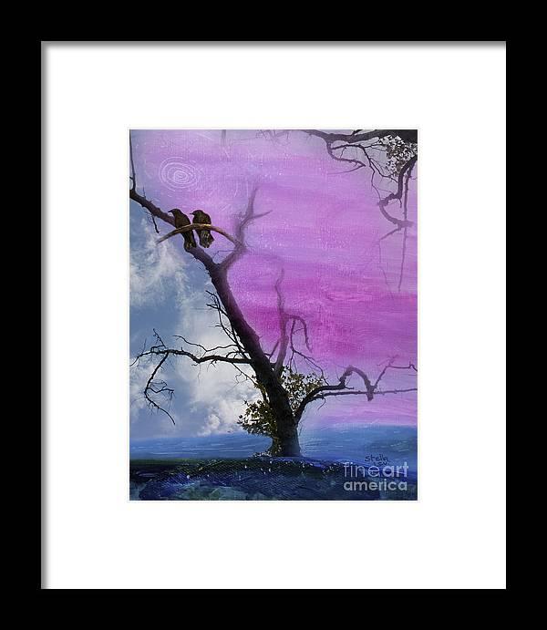 Crow Framed Print featuring the digital art Two Blackbirds by Stella Levi