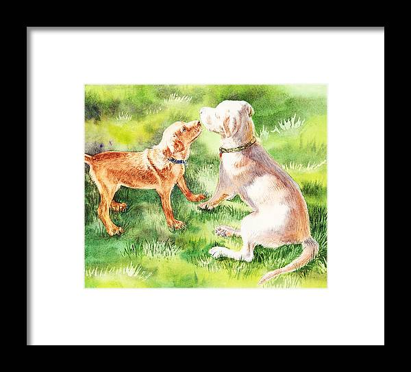Puppy Framed Print featuring the painting Two Brothers Labradors by Irina Sztukowski