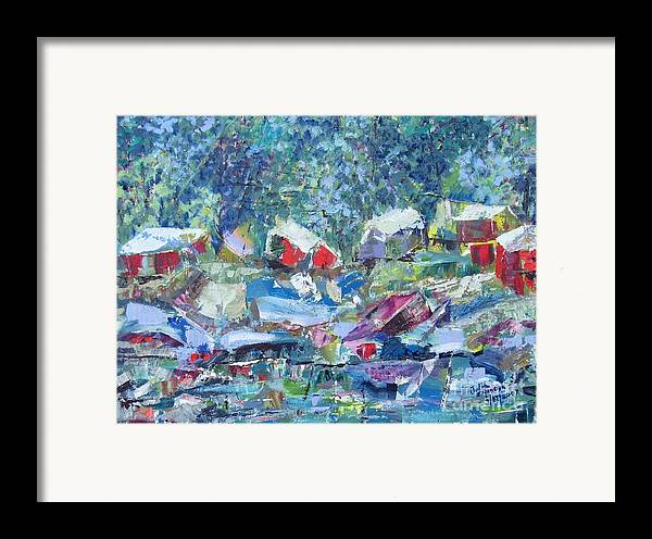 Landscape Framed Print featuring the painting Two Canoes - Sold by Judith Espinoza