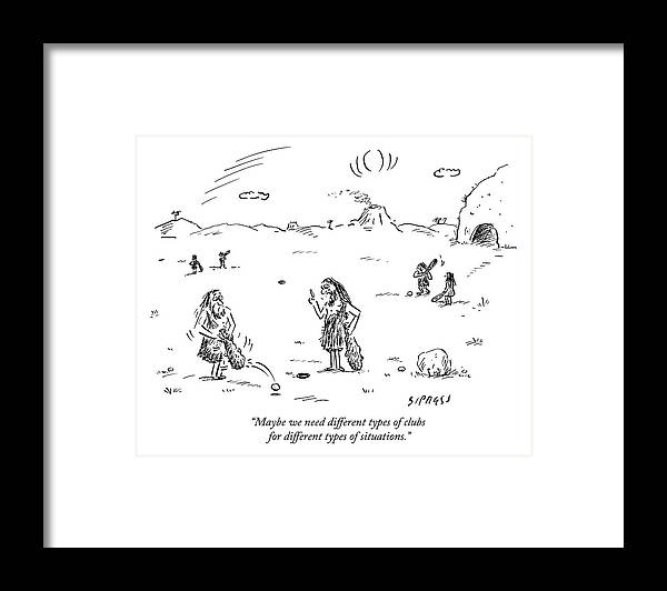 Two Cavemen Play A Form Of Golf With Caveman Framed Print by David ...