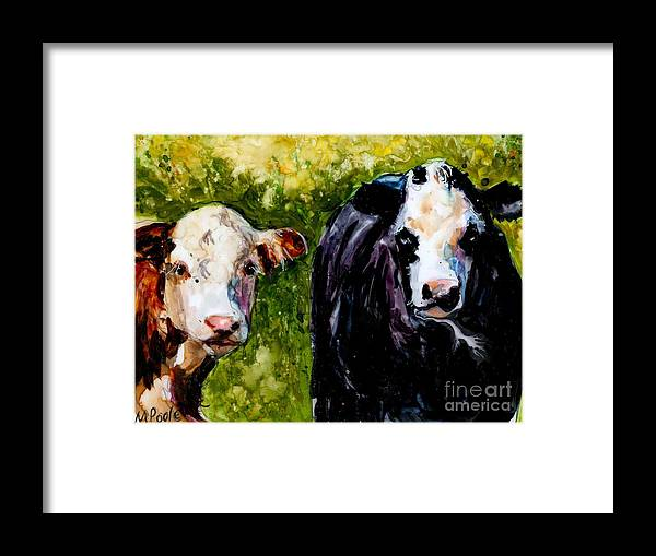 Cows Framed Print featuring the painting Two Cows by Molly Poole