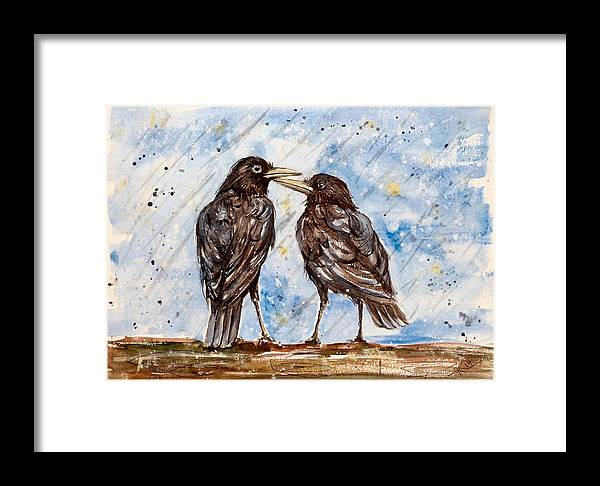 Birds Framed Print featuring the painting Two Crows On A Rainy Day by Katerina Kovatcheva