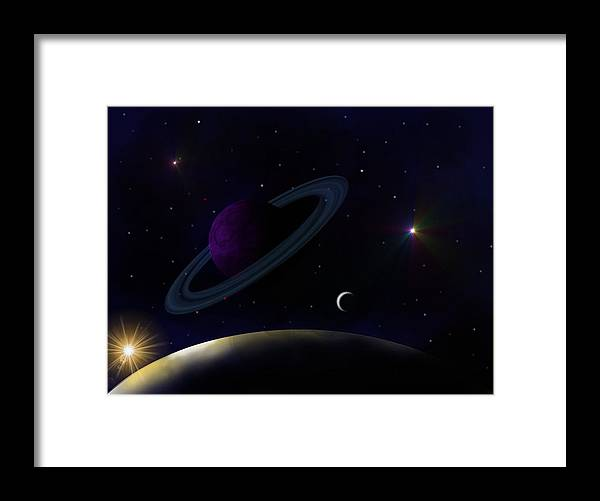 Digital Art Framed Print featuring the digital art Two Different Worlds by Ricky Haug