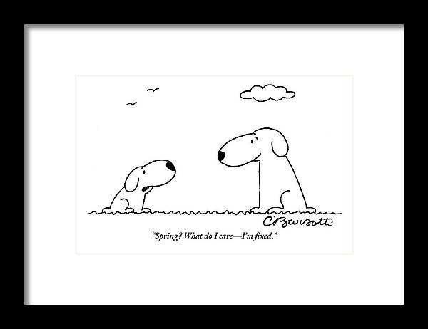 two dogs are seen talking to each other framed print by charles barsotti