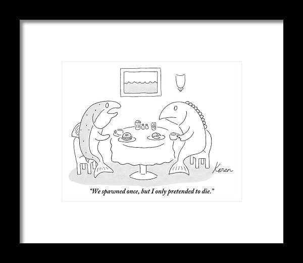 Fish Framed Print featuring the drawing Two Fish Sit At A Table Drinking Coffee by Karen Sneider