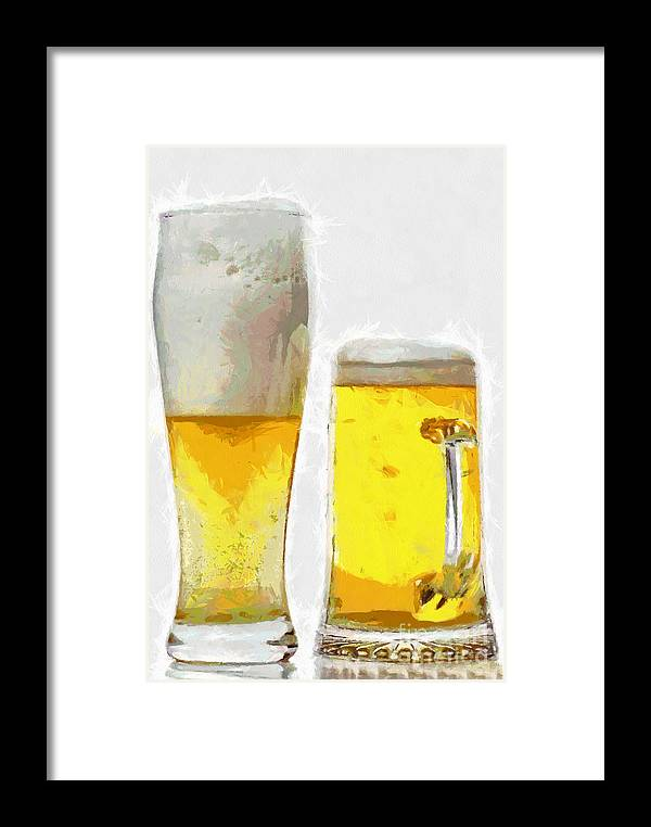 Beer Framed Print featuring the painting Two Glass Of Beer Painting by Magomed Magomedagaev