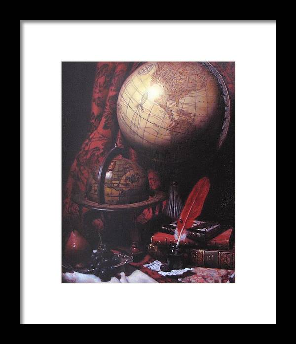 Still Life Framed Print featuring the painting Two Globes by Takayuki Harada