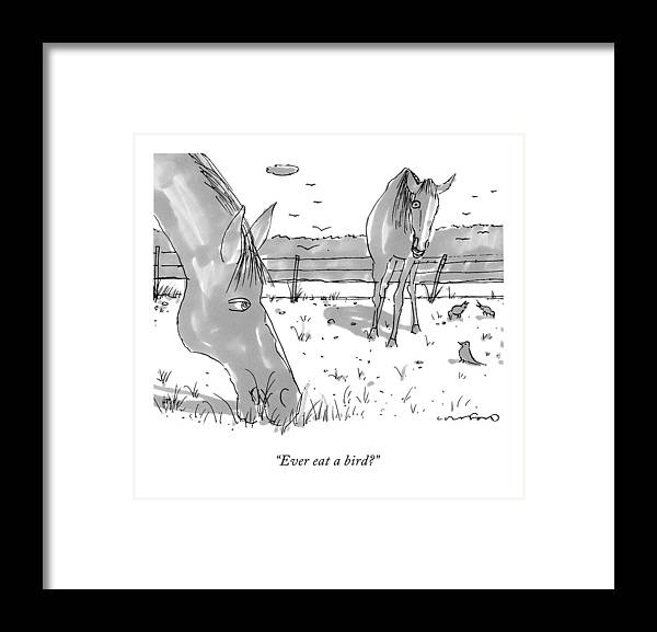 two grazing horses a few birds peck nearby framed print by michael