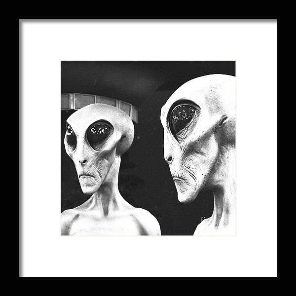 Two Grey Aliens Science Fiction Square Format Black And White Film ...