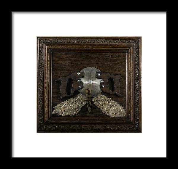 Folk Framed Print featuring the painting Two Handled Saw Blade by Kurt Olson