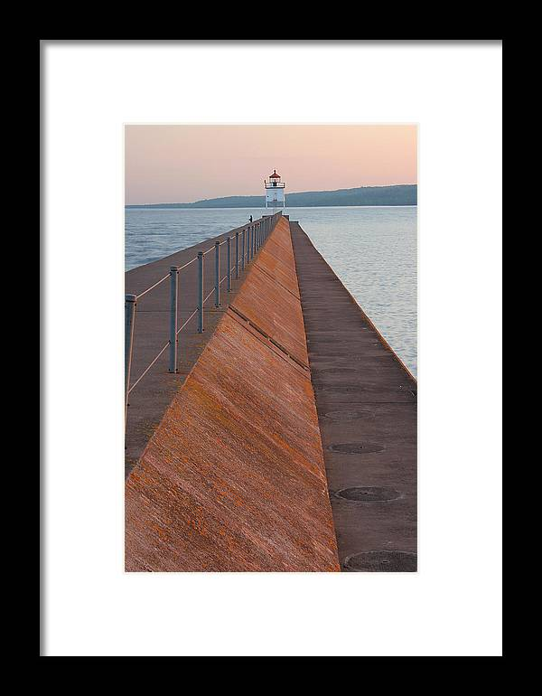 Two Framed Print featuring the photograph Two Harbors Mn Pier Light 6 by John Brueske