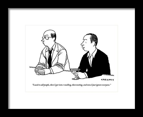 Technology Framed Print featuring the drawing Two Men Are Seen Speaking With Each Other by Alex Gregory