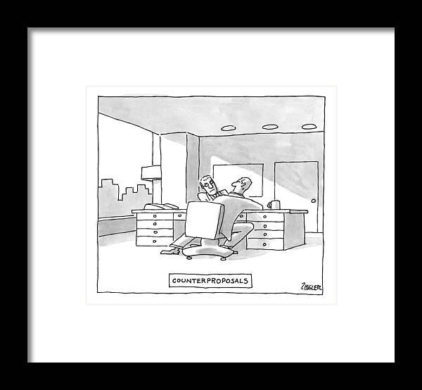 #condenastnewyorkercartoon Framed Print featuring the drawing Two Men Arm Wrestle At A Desk -- Counter by Jack Ziegler
