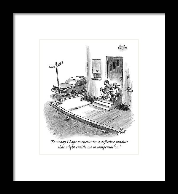 Stoop Framed Print featuring the drawing Two Men In Street Clothes Are Sitting by Frank Cotham