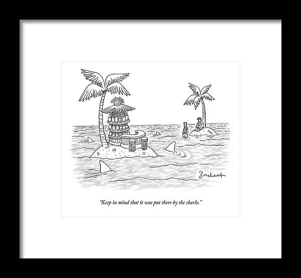 Sharks Framed Print featuring the drawing Two Men Stand On A Desert Island by David Borchart