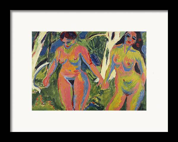 Expressionist; Expressionism; Portrait; Female; Double; Three-quarter Length; Forest; Tree; 2 Framed Print featuring the painting Two Nude Women In A Wood by Ernst Ludwig Kirchner