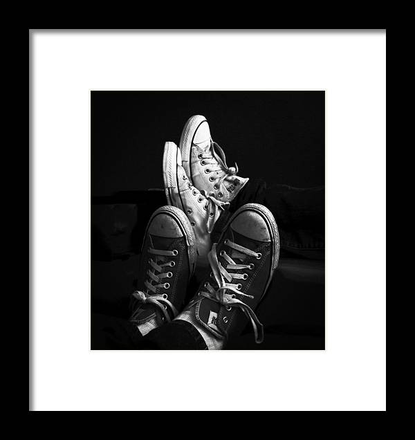 B&w Framed Print featuring the photograph Two Pairs All Stars by Ronda Broatch