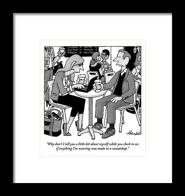Sweatshop Framed Print featuring the drawing Two People Sitting At A Table Drinking Coffee by William Haefeli