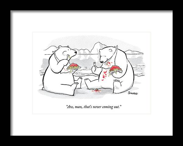 Polar Bears Framed Print featuring the drawing Two Polar Bears Eat Spaghetti And Meatballs. One by Benjamin Schwartz