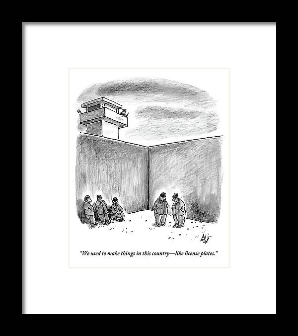 Prison Framed Print featuring the drawing Two Prisoners Talk In The A Prison Yard by Frank Cotham