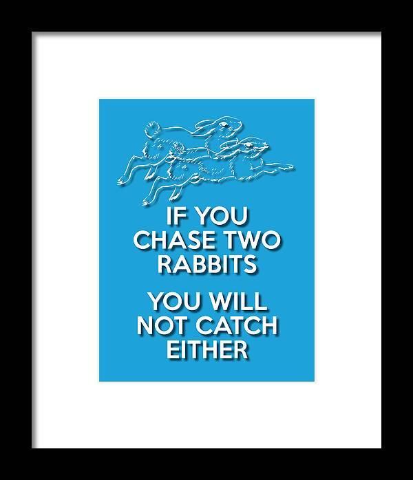 Wisdom Framed Print featuring the digital art Two Rabbits Blue by Splendid Notion Series
