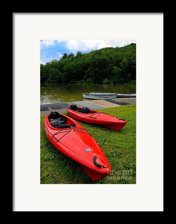 2 Seat Framed Print featuring the photograph Two Red Kayaks by Amy Cicconi