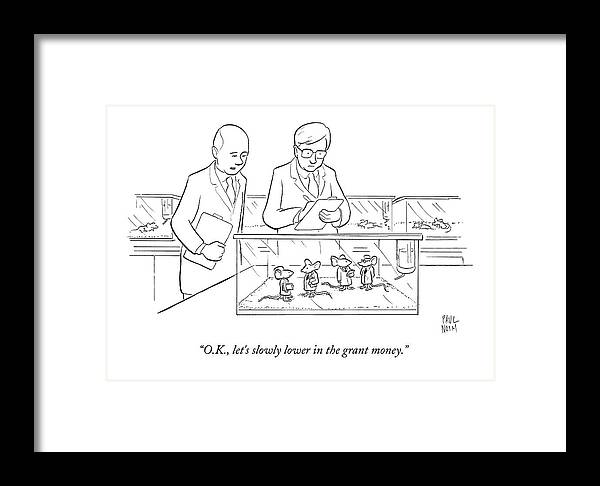 Two Scientists In Lab Coats Observe A Group Framed Print