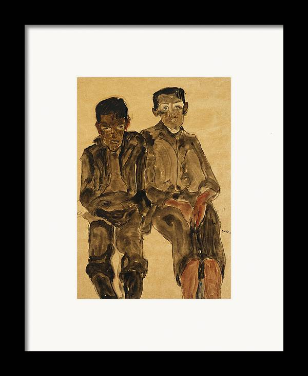 Austrian Art; Austrian Artist; Aversion; Boys Framed Print featuring the painting Two Seated Boys by Egon Schiele
