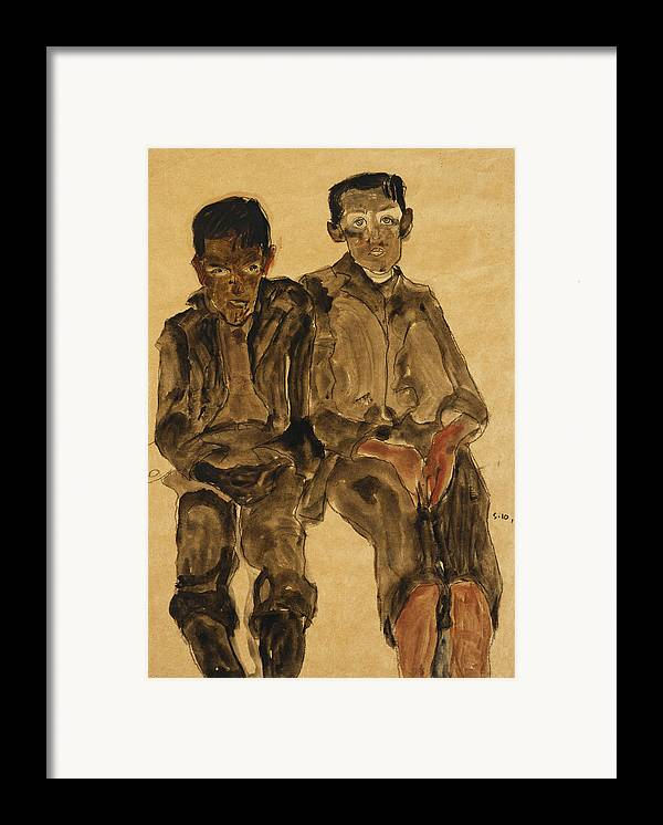 Austrian Art; Austrian Artist; Aversion; Boys Framed Print featuring the painting Two Seated Boys by Egon Schiele
