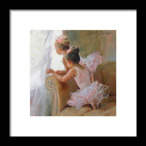 Dancers Framed Print featuring the painting Two Tutus by Anna Bain