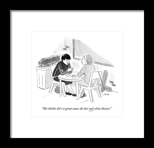 Women Framed Print featuring the drawing Two Women Speaking At A Coffee Shop Table by Emily Flake