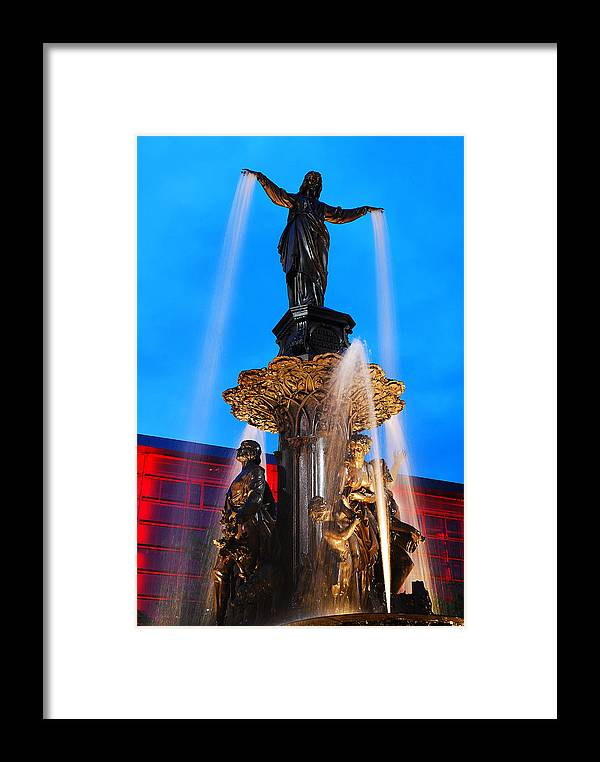 Tyler Framed Print featuring the photograph Tyler Davidson Fountain by James Kirkikis