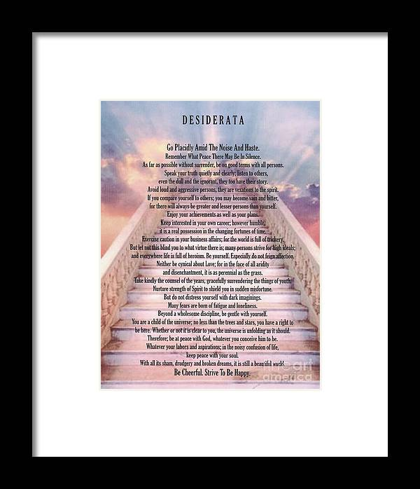 Typography Art Desiderata Poem On Stairway To Heaven Framed Print By
